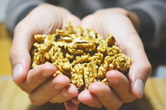 ořechy v dlaních